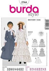 19ende århundrede kvinde kostume. Burda 2768.