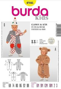 Bamseudklædning, bjørn, klovn. Burda 4946.