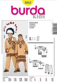 Indianersæt til børn. Burda 5812.