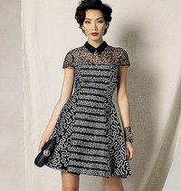 Klokkeformet kjole, Zandra Rhodes. Vogue 1484.