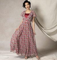 Flutter-ærmekjole, bælte og slip, Kathryn Brenne. Vogue 9168.