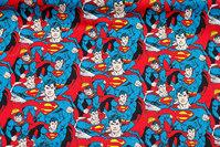 Blå patchwork-bomuld med Superman