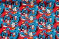 Blå patchwork-bomuld med Superman.