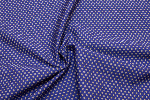 Bomuldspoplin med prikker i blå og jordbrun