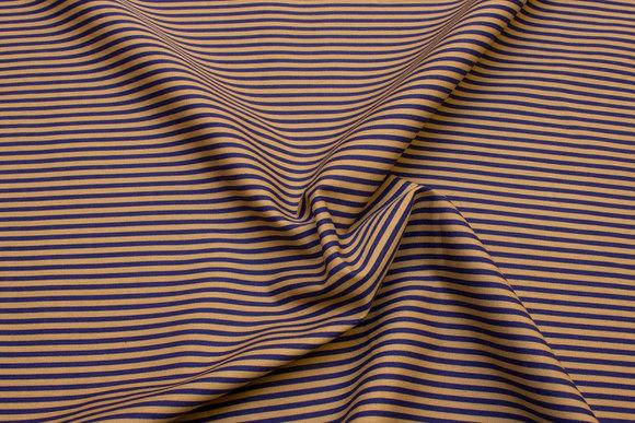 Bomuldspoplin med smalle striber i blå og jordbrun