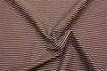 Bomuldspoplin med smalle striber i blå og jordbrun.