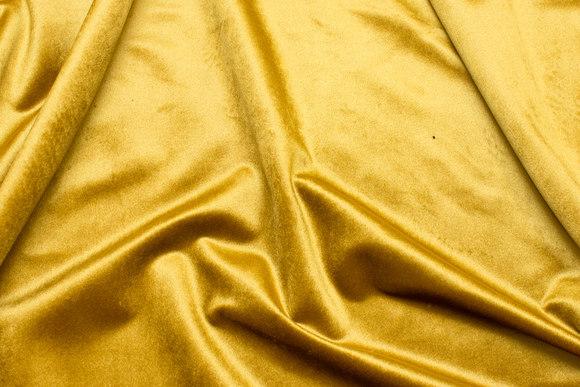 Flot, gylden messingfarvet Rokoko-velour med let skinnende overflade