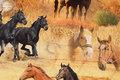Mellemsvær bomuld med heste i gyldne farver.