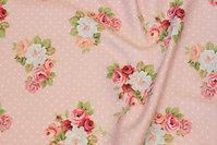 Sart rosa bomuldstwill med prikker og roser