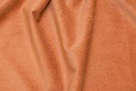 Smalriflet polyester buksefløjl med stræk i lys kanelfarvet