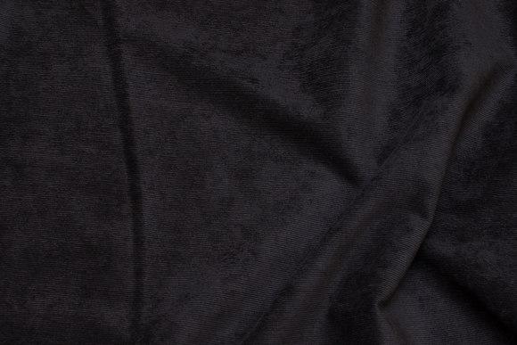 Smalriflet, sort polyester buksefløjl