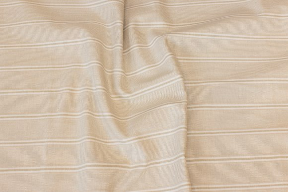 Stribet bomuld i sand og off white, 4 cm stripes