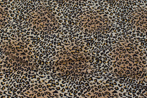 Gylden polyester mousselin med mini-leopardmønster