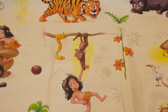 Vævet bomuld med Junglebog-motiver