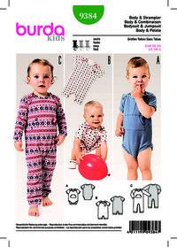 Baby bodysuit, knaplukke mellem ben. Burda 9384.