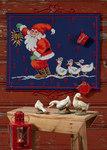 Permin 34-4242. Pakkekalender i blå med julemand og gæs.