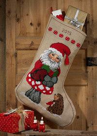 Kæmpe julesok med sød nisse og pindsvin. Permin 41-4248.