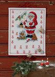 Permin 4245-34. Hvid pakkekalender med Julemanden og ræv.