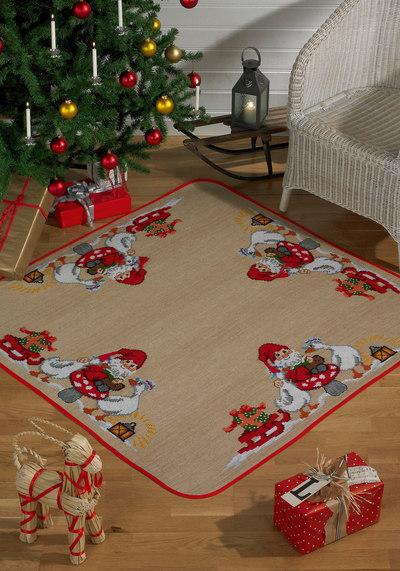 Juletræstæppe, firkantet, Julemand og gæs