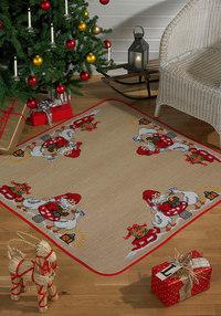 Juletræstæppe, firkantet, Julemand og gæs. Permin 45-4251.