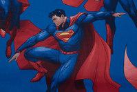 Blå, fast bomuld med store Superman motiver