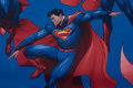 Blå, fast bomuld med store Superman motiver.