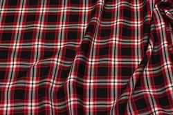 Blød skjortebomuld i sort, rød, hvid tern