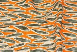 Bomulds-canvas i orange og grågrøn