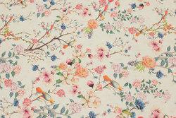 Bomuldscanvas i cremefarvet med blomster og fugle