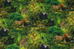 Bomuldsjersey med dyr i junglen