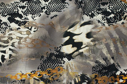 Bomuldsjersey i grå nuancer med gyldne kæder