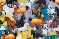 Bomuldsjersey med heste på grå-gul-blå cirkelbaggrund