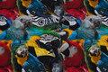Bomuldsjersey med masser af papegøjer.