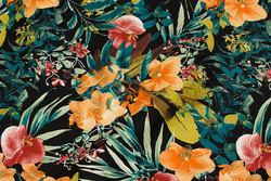 Bukse-stretch i sort bomuldssatin med jungleblade