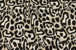 Canvas med grafisk mønster i sort og sand