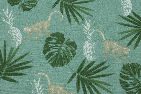 Deko-stof i støvgrøn med blade og aber