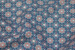 Fast bomuld i blåt og rødt retromønster