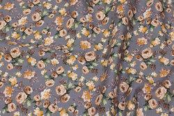 Fast, grå bomuld med beige roser