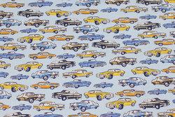 Fast, lyseblå bomuld med biler