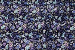 Fast, marine bomuld med blå og lilla blomster