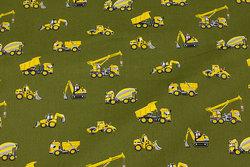 Fast, olivengrøn bomuld med gule køretøjer