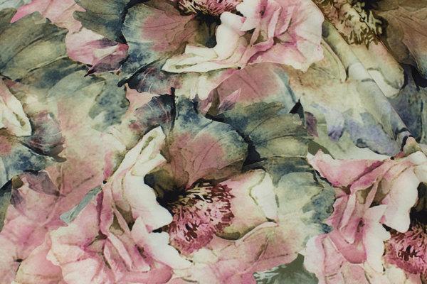 Helt let micro-polyester med let stræk i rosa og grønne nuancer