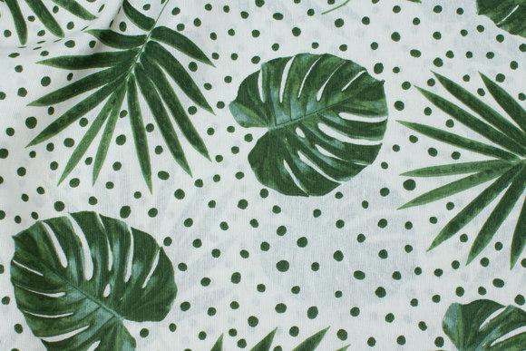 Hvid deko-stof med grønne blade og prikker