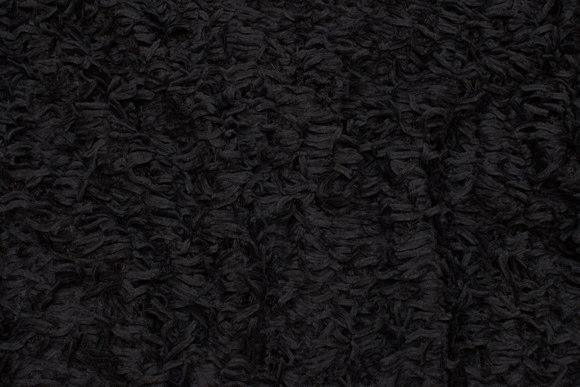 Koksgrå, let strik med chenille-frynser