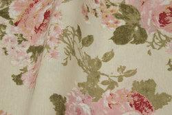 Mellemsvær bomuld og polyester i off white med roser