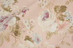 Mellemsvær bomuld og polyester i sart rosa med roser