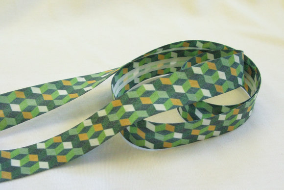 Skråbånd romber grøn og gul 2 cm