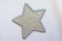 Sølv stjerne strygemærke ca. 7 cm