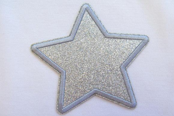 Sølv stjerne strygemærke 9 cm