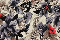 Viscosejersey i lys hørfarvet med grå og røde blomster
